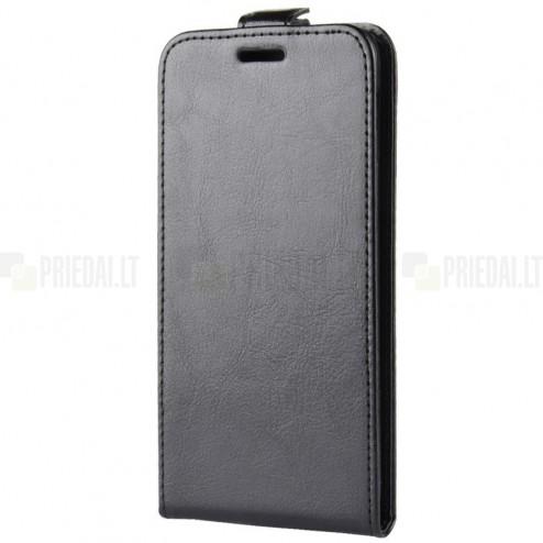 Samsung Galaxy S10e (G970) klasikinis vertikaliai atverčiamas juodas odinis dėklas