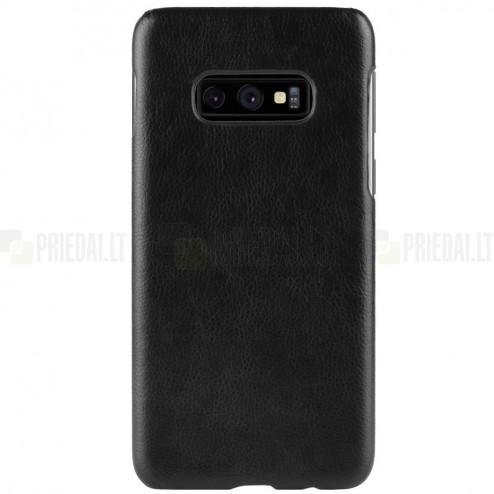 """""""Litchi"""" Skin Leather Samsung Galaxy S10e (G970) juodas plastikinis dėklas - nugarėlė"""