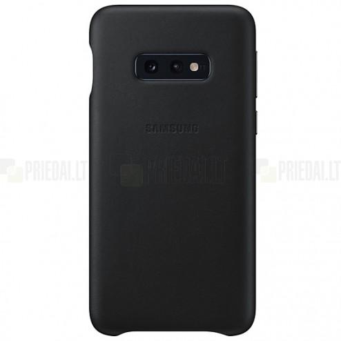 Samsung Galaxy S10e (G970) Leather Cover juodas odinis dėklas