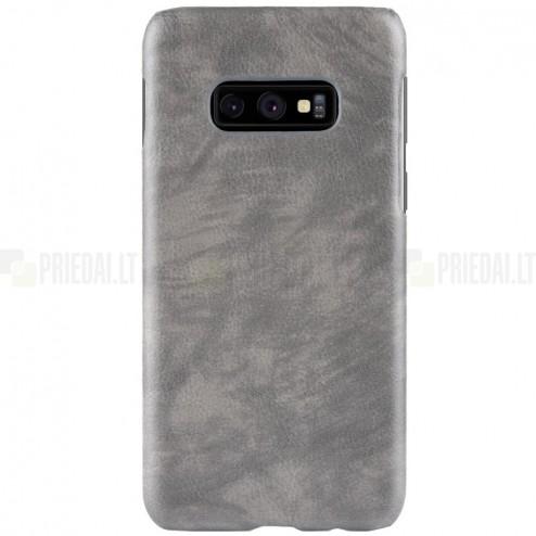 """""""Litchi"""" Skin Leather Samsung Galaxy S10e (G970) pilkas plastikinis dėklas - nugarėlė"""