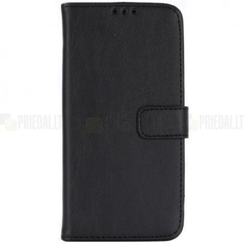Samsung Galaxy S10e (G970) atverčiamas juodas odinis retro dėklas - piniginė