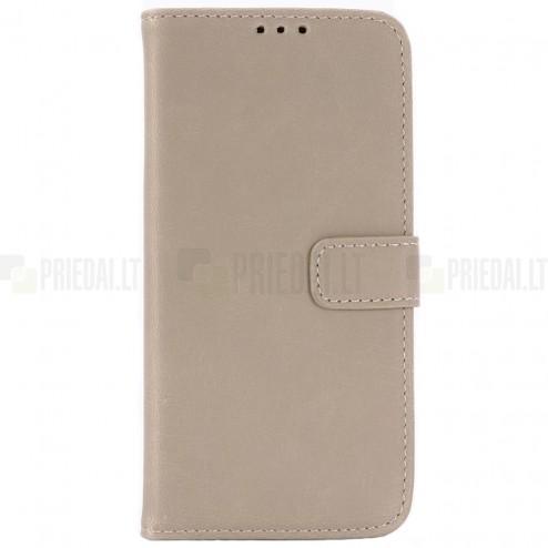 Samsung Galaxy S10e (G970) atverčiamas smėlio spalvos odinis retro dėklas - piniginė