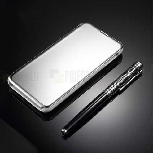 Samsung Galaxy S10e (G970) plastikinis atverčiamas sidabrinis dėklas