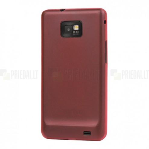 Skaidrus/raudonas Samsung Galaxy S2 TPU dėklas