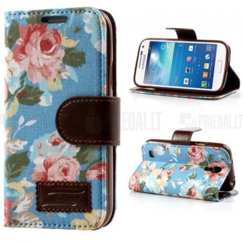 Atverčiamas Samsung Galaxy S5 G900 rožių spalvotas dėklas (piniginė) - mėlynas