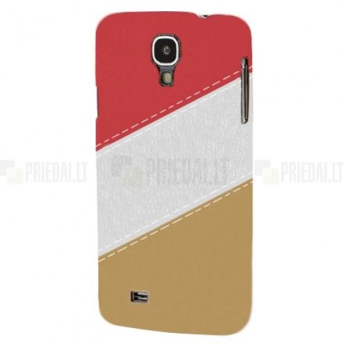 Samsung Galaxy S4 (i9500) spalvotas, raudonas odinis Leather itin plonas dėklas - nugarėlė
