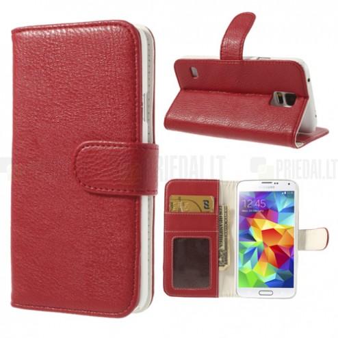 Samsung Galaxy S5 G900 lychee atverčiamas raudonas odinis dėklas - piniginė
