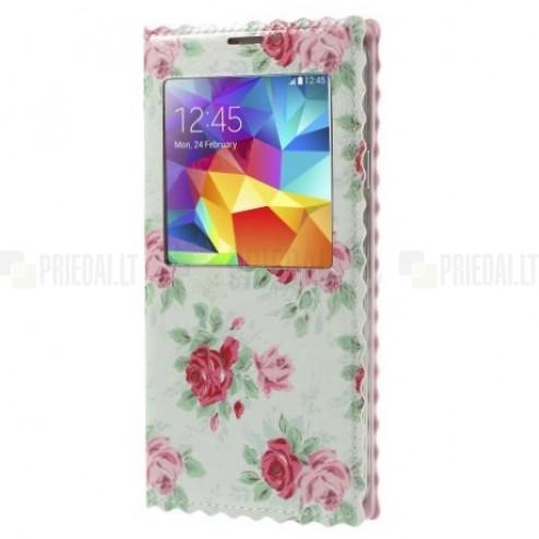 """""""Rose"""" serijos Samsung Galaxy S5 (S5 Neo) mėtinis odinis atverčiamas dėklas"""