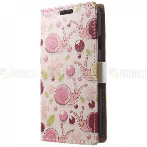 """""""Snails"""" serijos Samsung Galaxy S5 mini (G800) spalvotas odinis atverčiamas dėklas"""