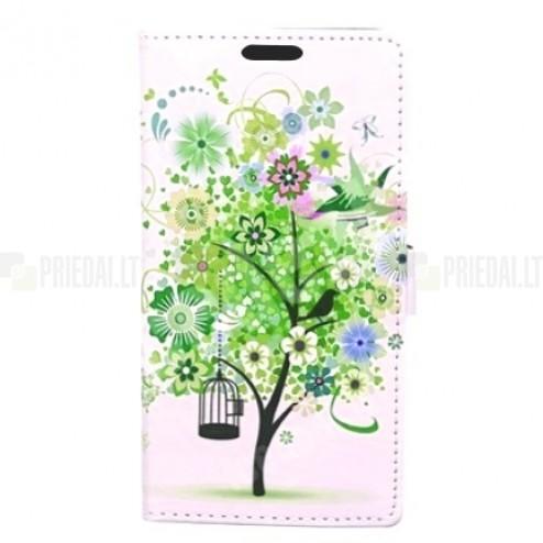 """""""Flower Tree"""" serijos Samsung Galaxy S5 (S5 Neo) baltas odinis atverčiamas dėklas"""