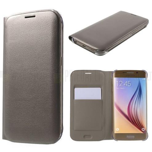Samsung Galaxy S6 Edge šampaninis odinis atverčiamas Smart Wallet dėklas - piniginė