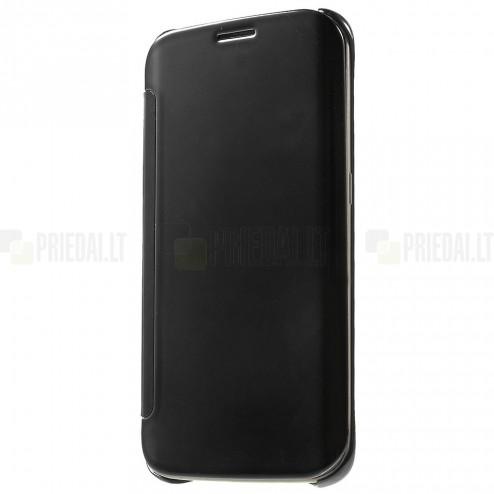 Samsung Galaxy S6 Edge (G925) plastikinis atverčiamas juodas dėklas