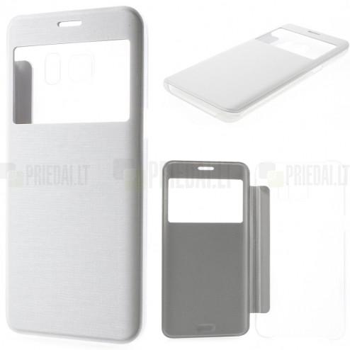 Samsung Galaxy S6 Edge+ Plus (G928) View Window atverčiamas baltas dėklas - knygutė
