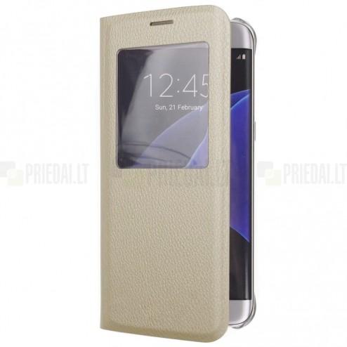 Samsung Galaxy S6 Edge+ (G928) auksinis odinis atverčiamas dėklas su langeliu