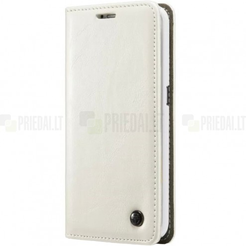 """Samsung Galaxy S6 Edge+ Plus (G928) """"CaseMe"""" solidus atverčiamas baltas odinis dėklas - knygutė"""