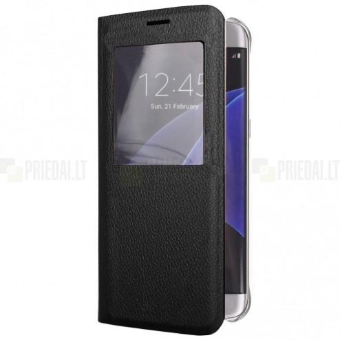 Samsung Galaxy S6 Edge+ (G928) juodas odinis atverčiamas dėklas su langeliu