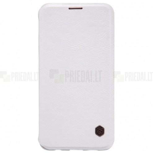 """Prabangus """"Nillkin"""" Qin serijos baltas odinis atverčiamas Samsung Galaxy S6 Edge+ Plus (G928) dėklas"""