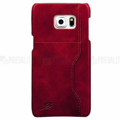 """""""Retro"""" Luxury Samsung Galaxy S6 Edge+ (G928) raudonas odinis dėklas - nugarėlė su kišenėle kortelėms"""