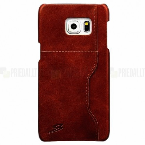 """""""Retro"""" Luxury Samsung Galaxy S6 Edge+ (G928) rudas odinis dėklas - nugarėlė su kišenėle kortelėms"""