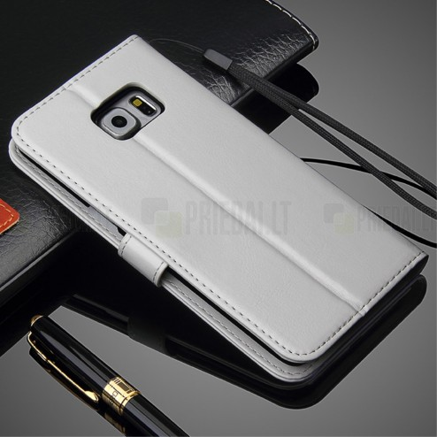 Samsung Galaxy S6 Edge+ (G928) atverčiamas baltas odinis dėklas - piniginė