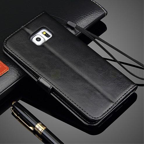 Samsung Galaxy S6 Edge+ (G928) atverčiamas juodas odinis dėklas - piniginė