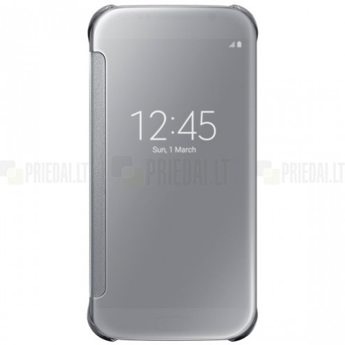 Samsung Galaxy S6 (G920) originalus Clear View Cover atverčiamas sidabrinis dėklas
