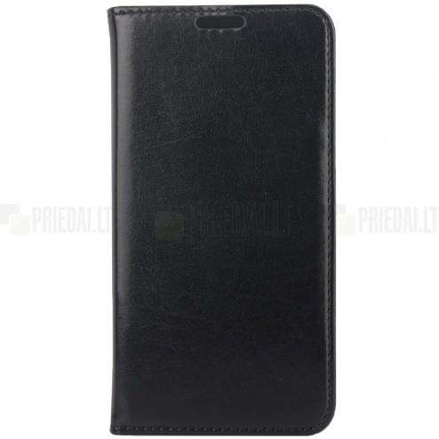 Samsung Galaxy S6 (G920) solidus atverčiamas juodas odinis dėklas - knygutė
