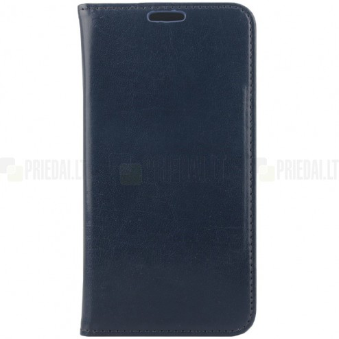 Samsung Galaxy S6 (G920) solidus atverčiamas mėlynas odinis dėklas - knygutė