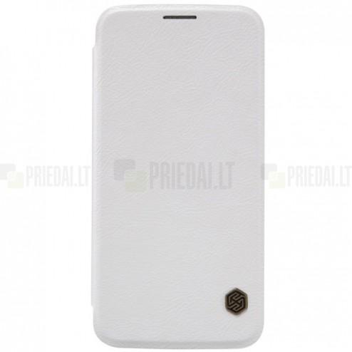 """Prabangus """"Nillkin"""" Qin serijos baltas odinis atverčiamas Samsung Galaxy S6 (G920) dėklas"""