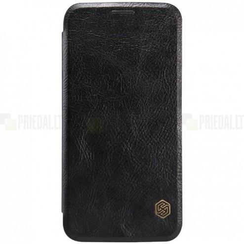 """Prabangus """"Nillkin"""" Qin serijos juodas odinis atverčiamas Samsung Galaxy S6 (G920) dėklas"""