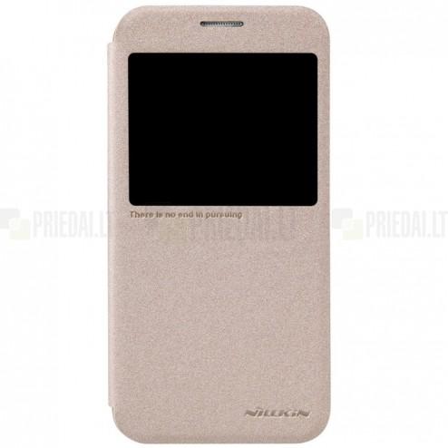 Samsung Galaxy S6 (G920) auksinis odinis atverčiamas Nillkin Sparkle dėklas
