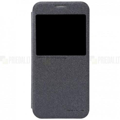 Samsung Galaxy S6 (G920) pilkas odinis atverčiamas Nillkin Sparkle dėklas