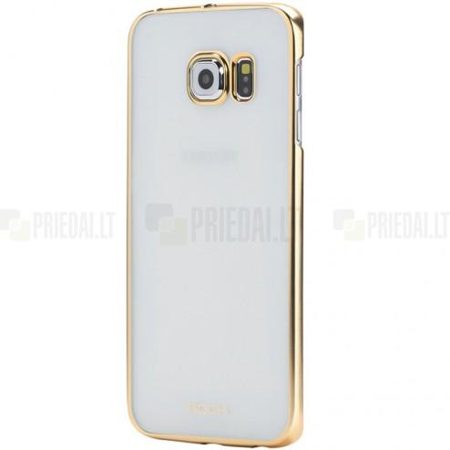 Samsung Galaxy S6 (G920) Rock Neon plastikinis skaidrus permatomas auksinis dėklas