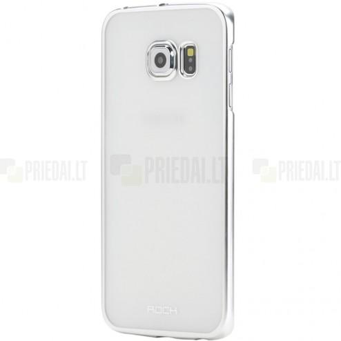 Samsung Galaxy S6 (G920) Rock Neon plastikinis skaidrus permatomas sidabrinis dėklas