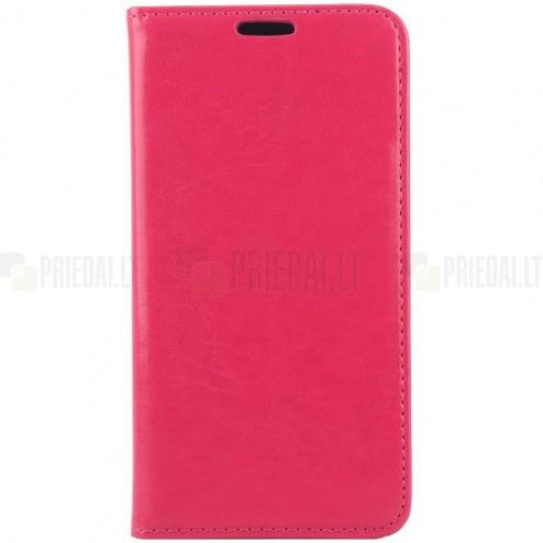 Samsung Galaxy S6 (G920) solidus atverčiamas rožinis odinis dėklas - knygutė