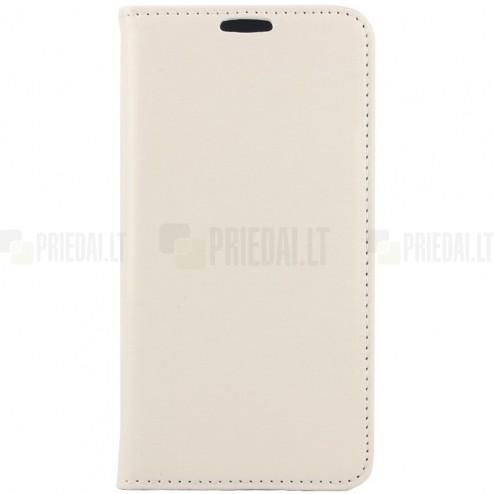 Samsung Galaxy S6 (G920) solidus atverčiamas smėlio spalvos odinis dėklas - knygutė