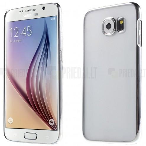 Samsung Galaxy S6 (G920) plastikinis skaidrus permatomas sidabrinis dėklas