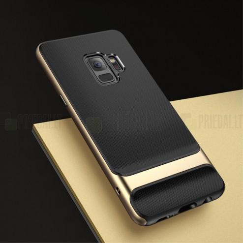 """""""Rock"""" Royce sustiprintos apsaugos Samsung Galaxy S9 (G960) juodas aukso spalvos apvadais kieto silikono (TPU) ir plastiko dėklas"""