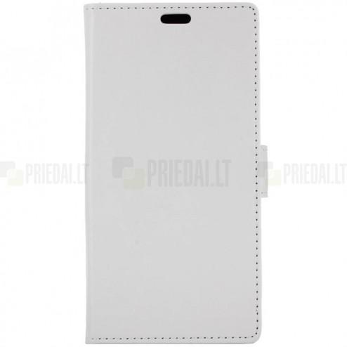 Samsung Galaxy S9 (G960) atverčiamas baltas odinis dėklas - piniginė