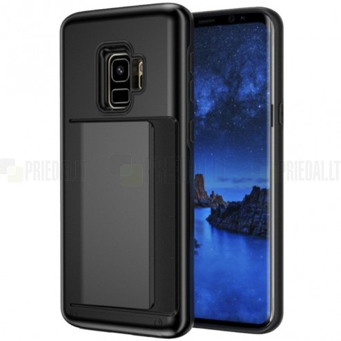 """""""Combo"""" Card Holder Samsung Galaxy S9 (G960) juodas kieto silikono dėklas"""
