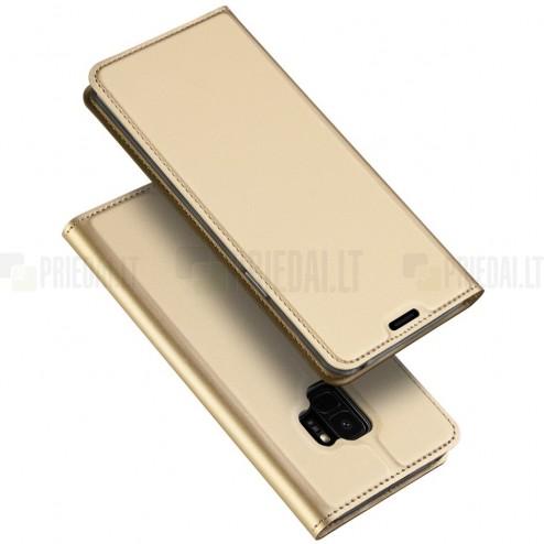 """""""Dux Ducis"""" Skin serijos Samsung Galaxy S9 (G960) auksinis odinis atverčiamas dėkla"""