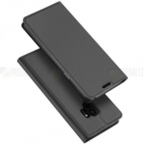 """""""Dux Ducis"""" Skin serijos Samsung Galaxy S9 (G960) juodas odinis atverčiamas dėkla"""