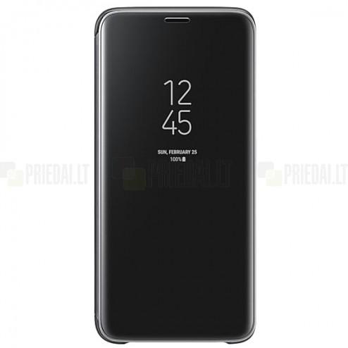 Samsung Galaxy S9 (G960) originalus Clear View Standing Cover atverčiamas juodas dėklas