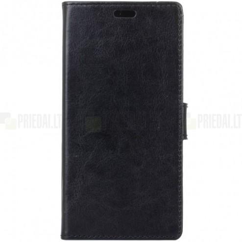 Samsung Galaxy S9 (G960) atverčiamas juodas odinis dėklas - piniginė