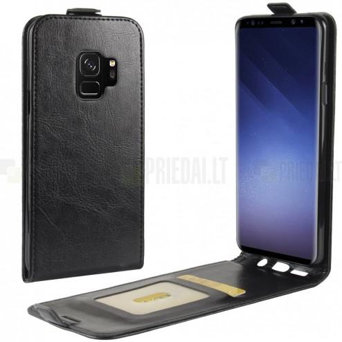 Samsung Galaxy S9 (G960) klasikinis vertikaliai atverčiamas juodas odinis dėklas