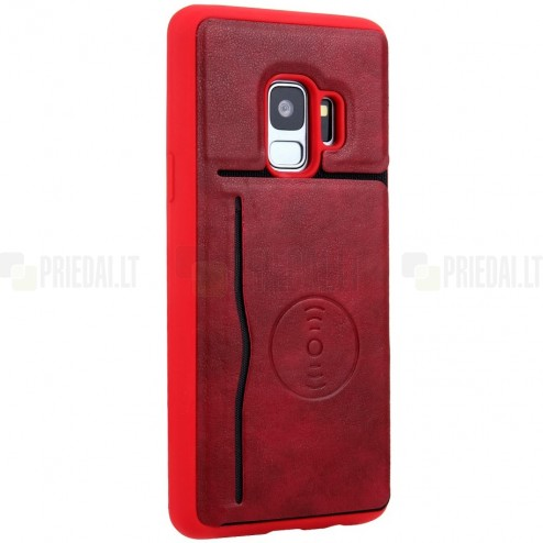 """""""Kickstand"""" Card Holder Samsung Galaxy S9 (G960) raudonas odinis dėklas"""