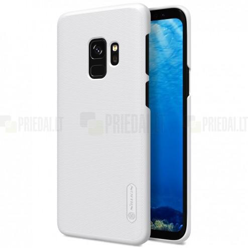 Samsung Galaxy S9 (G960) Nillkin Frosted Shield baltas plastikinis dėklas + apsauginė ekrano plėvelė