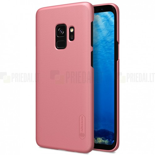 Samsung Galaxy S9 (G960) Nillkin Frosted Shield rožinis plastikinis dėklas + apsauginė ekrano plėvelė