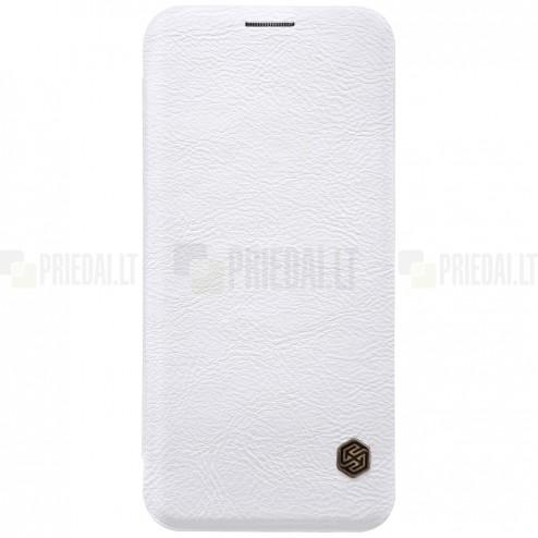 """Prabangus """"Nillkin"""" Qin serijos baltas odinis atverčiamas Samsung Galaxy S9 (G960)"""