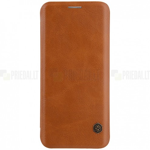 """Prabangus """"Nillkin"""" Qin serijos rudas odinis atverčiamas Samsung Galaxy S9 (G960)"""